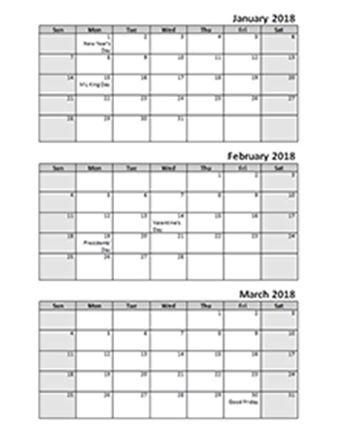 2018 calendar templates download 2018 monthly & yearly
