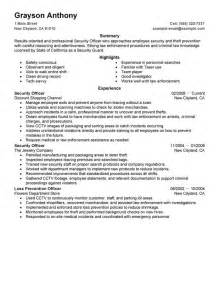 security officers resume sle my resume - Security Officer Resume Format