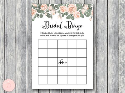 bridal shower bingo card template pink floral bridal shower printable bows