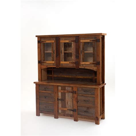 heritage silver falls buffet and hutch with 3 glass doors