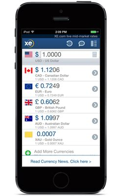 currency converter xe app xe currency app for iphone