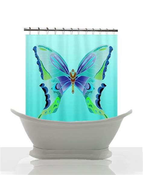 blue butterfly curtains artistic shower curtain big blue butterfly unique blue
