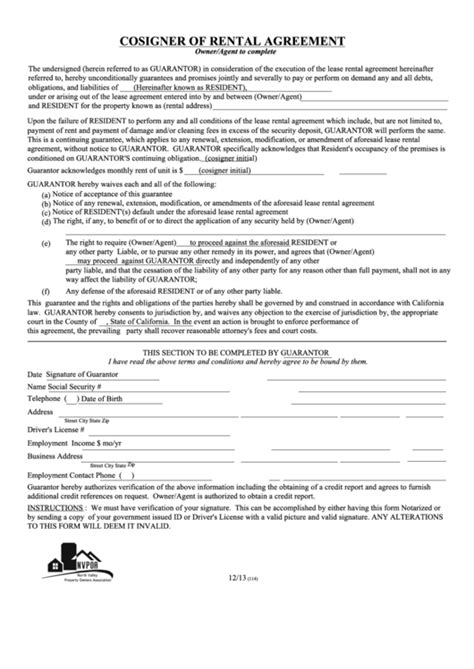 66 Rental Forms And Templates Free To Download In Pdf Cosigner Contract Template