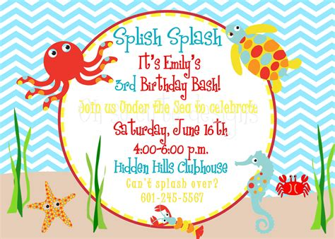 Under The Sea Birthday Invitation 12 00 Via Etsy Under The Sea Birthday 2012 Pinterest The Sea Birthday Invitation Template