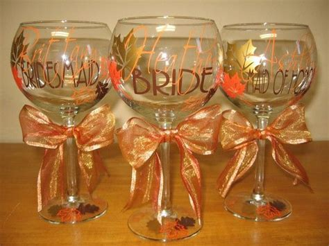 Fall Wedding, personalized wine glasses   Wedding
