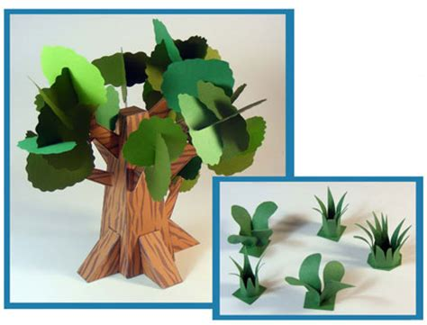 Paper Trees Craft - papercraft dino mini world trees and grass