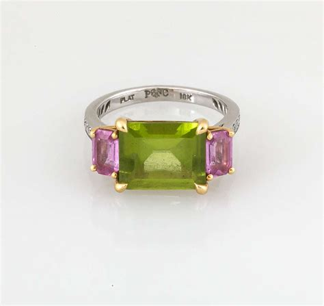 paolo costagli emerald cut peridot and pink sapphire ring