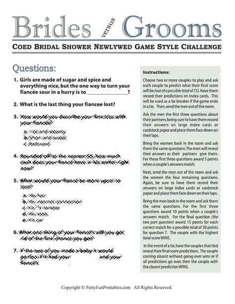 bridal shower questions to ask the bridal shower interactive ideas for your wedding showers