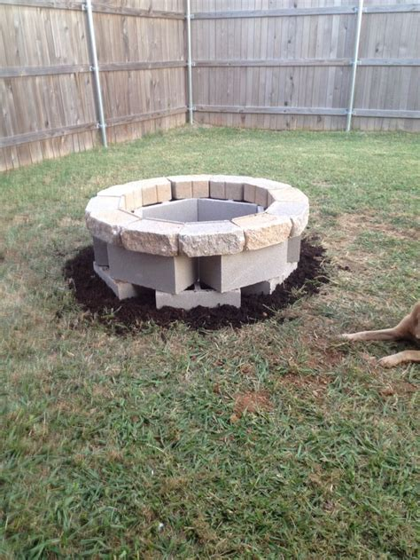 Block Firepit Pit Made Out Of Center Blocks And Wall Stones Stuff I Done