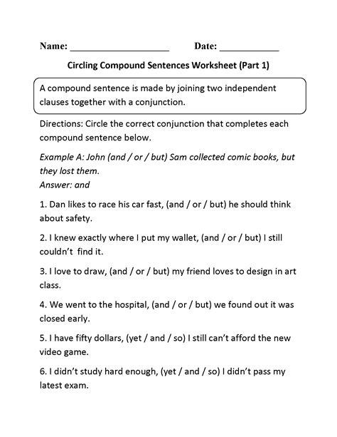 circling compound sentences worksheet part 1 teaching