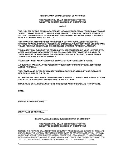 durable power of attorney form free pennsylvania power of attorney forms word pdf