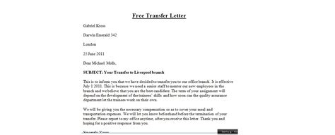 Transfer Letter Format From One Place To Another transfer letter writing steps sle letter enkivillage