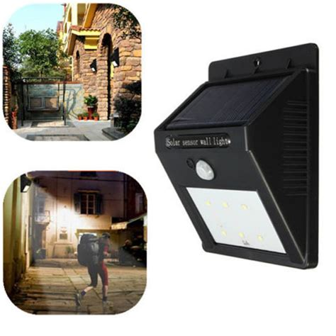 garden wall security solar panel led flood security solar garden light pir motion sensor 6 leds path wall ls