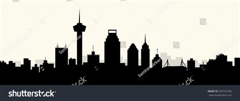 san antonio morning skyline vector stock vector 359720786
