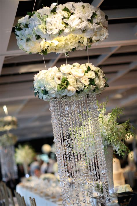 Centerpiece Chandelier Floral Chandeliers Hanging From The Ceiling Make For A Stunning Centerpiece At Our