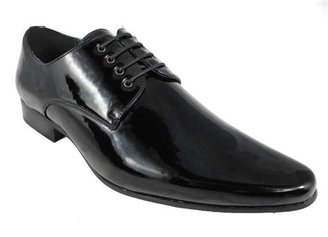 mens formal dinner suit dress wedding shoes black patent