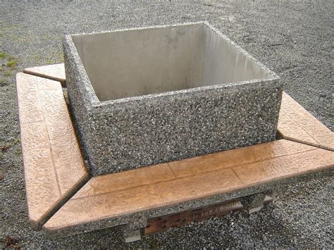 Precast Concrete Planter by Square Planter W Seating Exposed Aggregate Planter