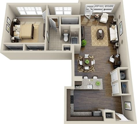 l shaped apartment 1 bedroom apartment house plans