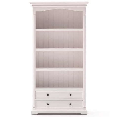 white bookcase with drawers provence white bookcase with 2 drawers and 4 shelf spaces