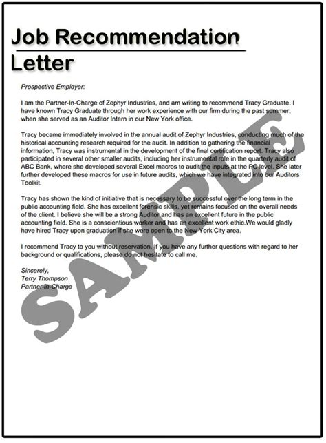 sample employment letter of recommendation gallery letter