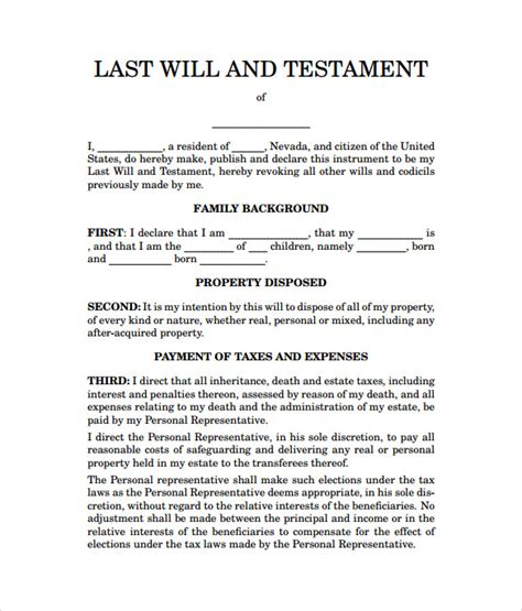 templates for a will sle last will and testament form 7 documents in word