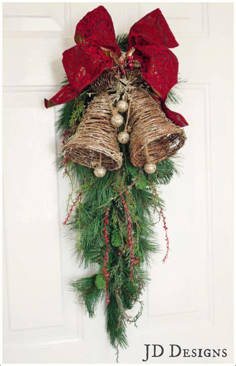 how to make xmas cedar swags grapevine glitter bell with velvet ribbon on a cedar swag creativity
