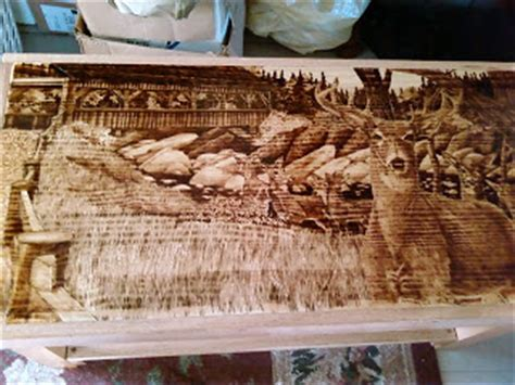 Wood Burned Table by Painting With The Wood Burned Coffee Table Deer