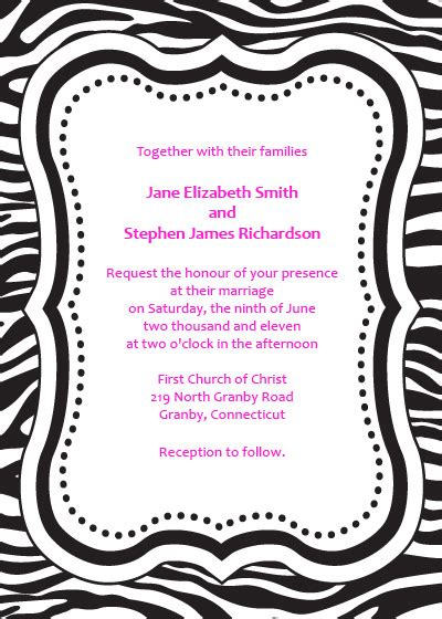 Zebra Print Invitations Printable Free zebra print free invitation template wedding invitation