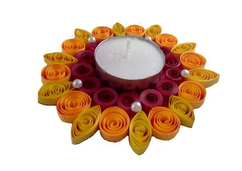 Handmade Diwali Decorations - buy made paper quilling floating diwali diya