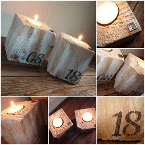 chion candele portavelas con tacos de madera de pallets