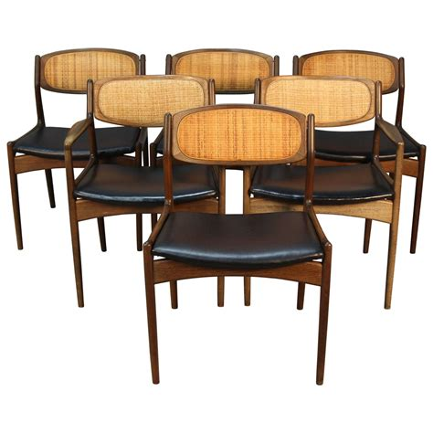 Set Of Six Danish Modern Selig Walnut Dining Chairs With Caned Dining Chairs