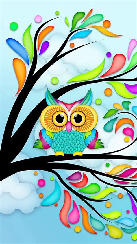 wallpaper iphone owl cute colorful owl wallpaper clipart best