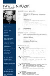 Waiter Bartender Sle Resume by Barman Exemple De Cv Base De Donn 233 Es Des Cv De Visualcv