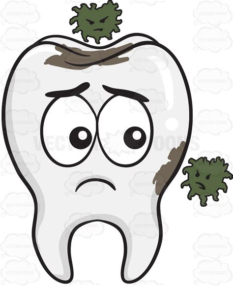 cartoon clipart tooth being infested by germs