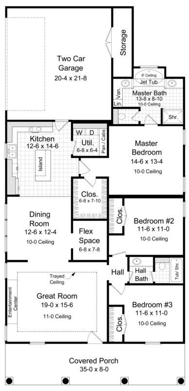 How Many Square Feet Is A 1 Car Garage by Narrow Lot Plan 1 650 Square Feet 3 Bedrooms 2