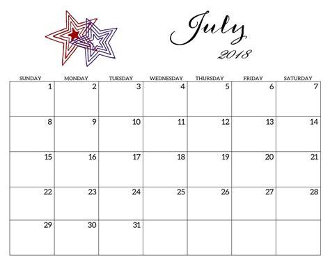 printable calendar 2018 july printable 2018 monthly blank templates calendar 2018
