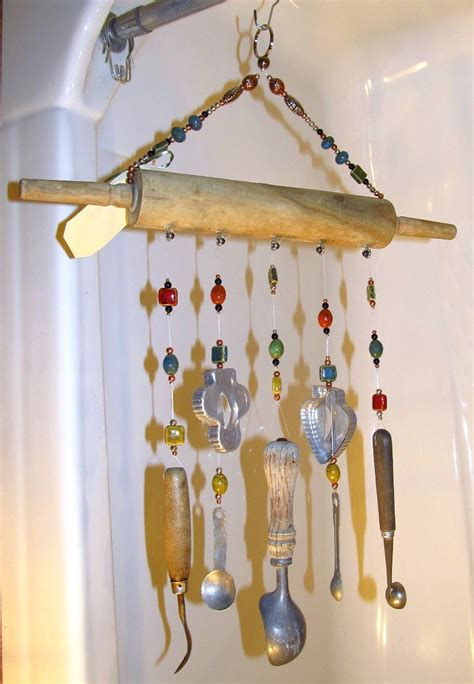 Handcrafted Wind Chimes - handmade wind chime rolling pin wind chime rockin and