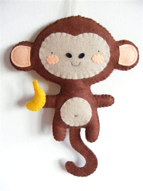 Monkey Handmade - pdf pattern felt monkey with banana ornament diy by