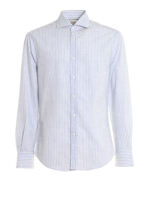 Pattern Cotton Shirt | striped pattern cotton shirt by brunello cucinelli