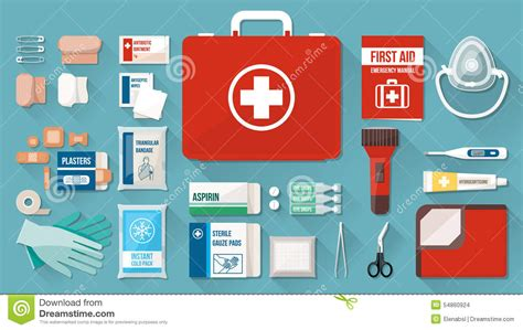 aid kit medicine contents aid kit stock vector illustration of fever