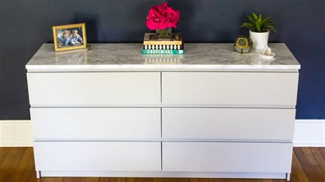 makeover  ikea malm dresser   marble top