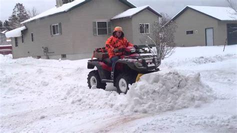 honda rancher snow plow honda foreman plowing snow