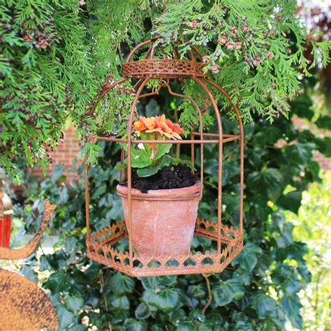 hanging metal planter rustic brown metal hanging birdcage planter melody maison 174
