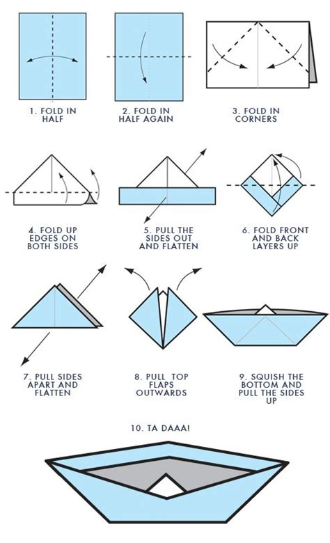 Folding Paper Boat - step by step for origami boat projects