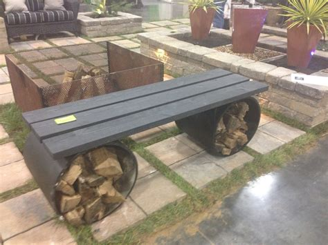 wooden fire pit bench bench for fire pit with wood storage firewood pinterest