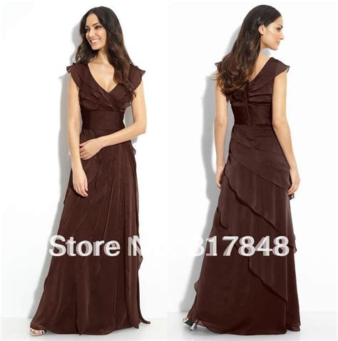 Brown V Neck Casual Dress beautiful collection free shipping customized modern casual brown v neck tiered empire chiffon