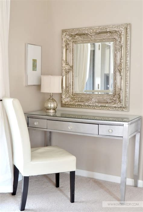 diy silver leaf vanity made from an thrift store desk