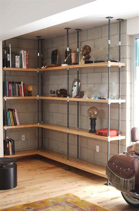 industrial built in bookcases fireplace brick bricks