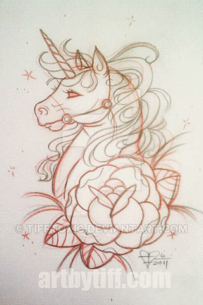 tattoo old school unicorn unicorn with rose outline tattoo stencil by tiffany flaherty