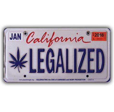 Sticker Plat California cs007a legalized california cannabis hemp license plate